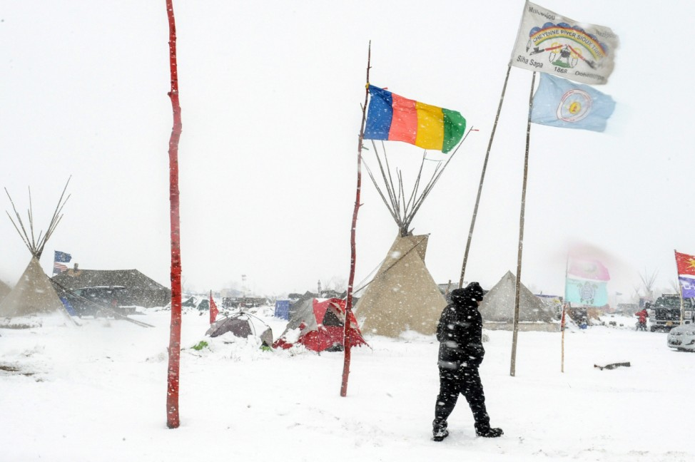 The Oceti Sakowin camp is seen in a snow storm during a protest against plans to pass the Dakota Access pipeline near the Standing Rock Indian Reservation, near Cannon Ball, North Dakota, U.S
