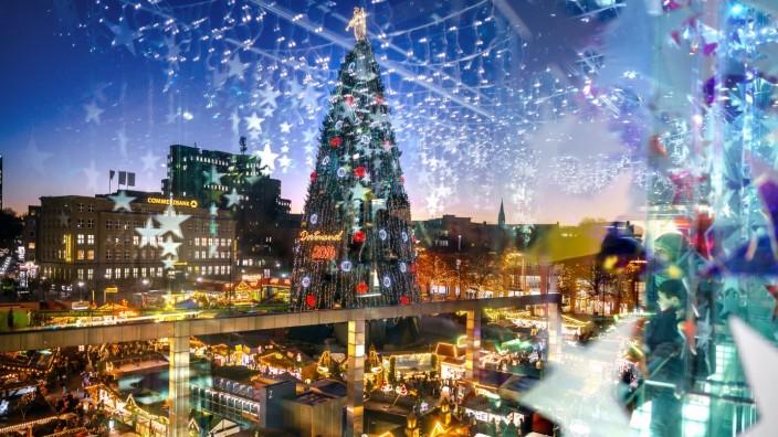 Weihnachtsmarkt in Dortmund: Der Dortmunder Weihnachtsmarkt - mit dem größten Weihnachtsbaum im Land.