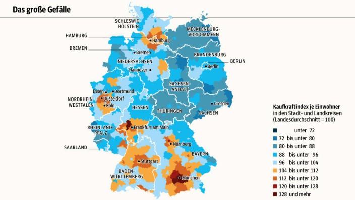 Kaufkraft-Studie: SZ-Grafik; Quelle: GfK