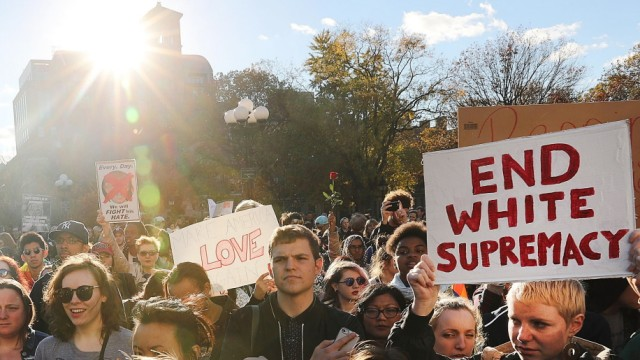 'Love Trumps Hate' Rally Held In New York's Washington Square Park