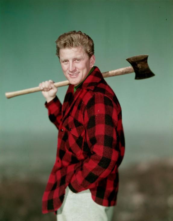 Kirk Douglas as lumberjack