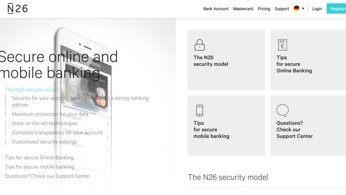 N26-Screenshot von der Security-Webseite