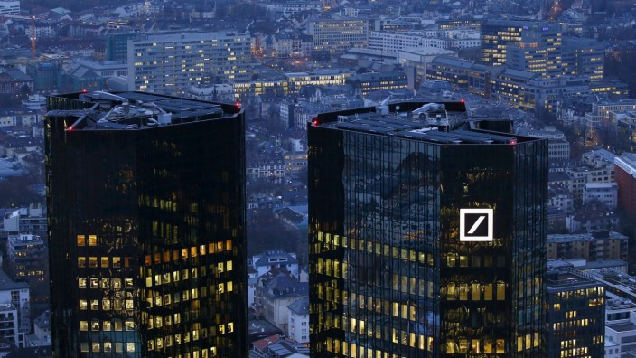 The headquarters of Germany's Deutsche Bank is photographed early evening in Frankfurt