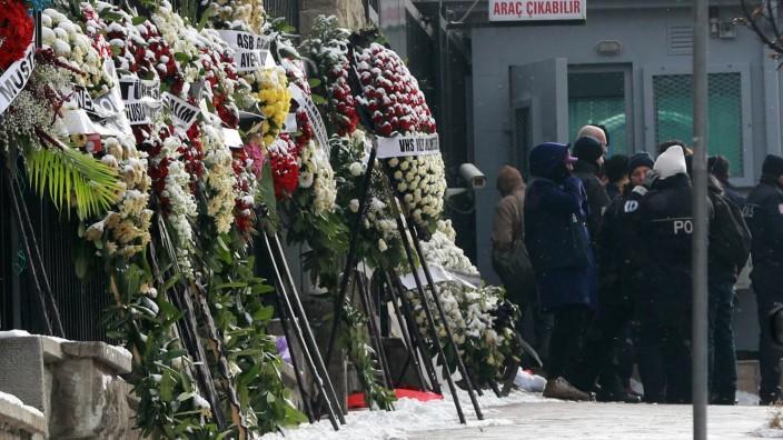 Russischer Gesandschaftin der türkischen Hauptstadt Ankara nach der Ermordung des russischen Botschafters Andrei Karlow