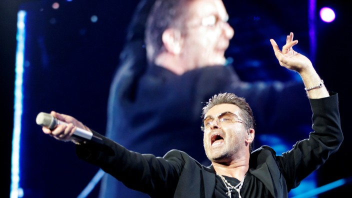 FILE PHOTO:  British pop singer George Michael performs during his concert as part of his 25 Live European tour at the OAKA Stadium in Athens
