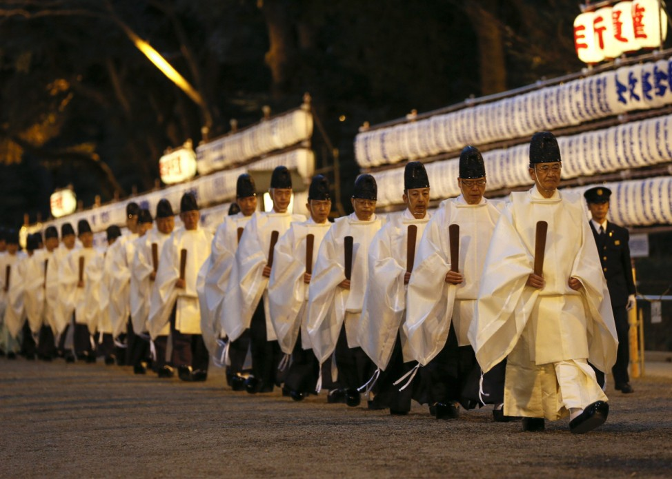 Shinto priests prepare for the New Year in Japan