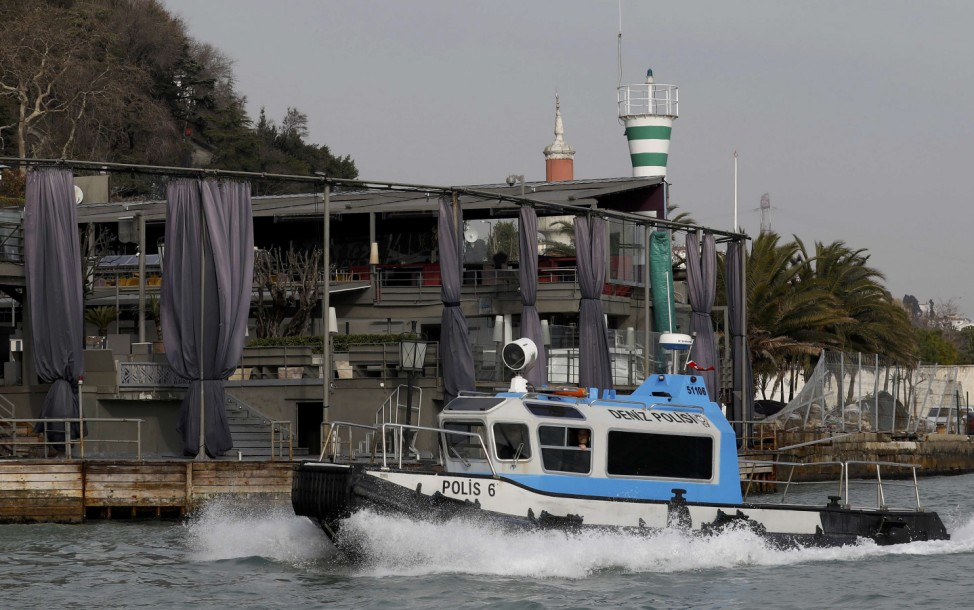 Turkish coast guard boat patrols in front of the Reina nightclub by the Bosphorus, which was attacked by a gunman, in Istanbul,