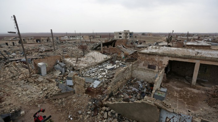 A general view shows the damage in Doudyan village in northern Aleppo Governorate