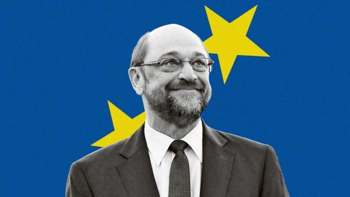 """Martin Schulz im Interview: """"Das Europaparlament ist ein faszinierender Ort"""", sagt dessen bisheriger Präsident Martin Schulz (SPD). """"Das ist wirklich multikulturell und einzigartig."""" Foto: Frederick Florin/AFP; Illustration: Özer/SZ"""