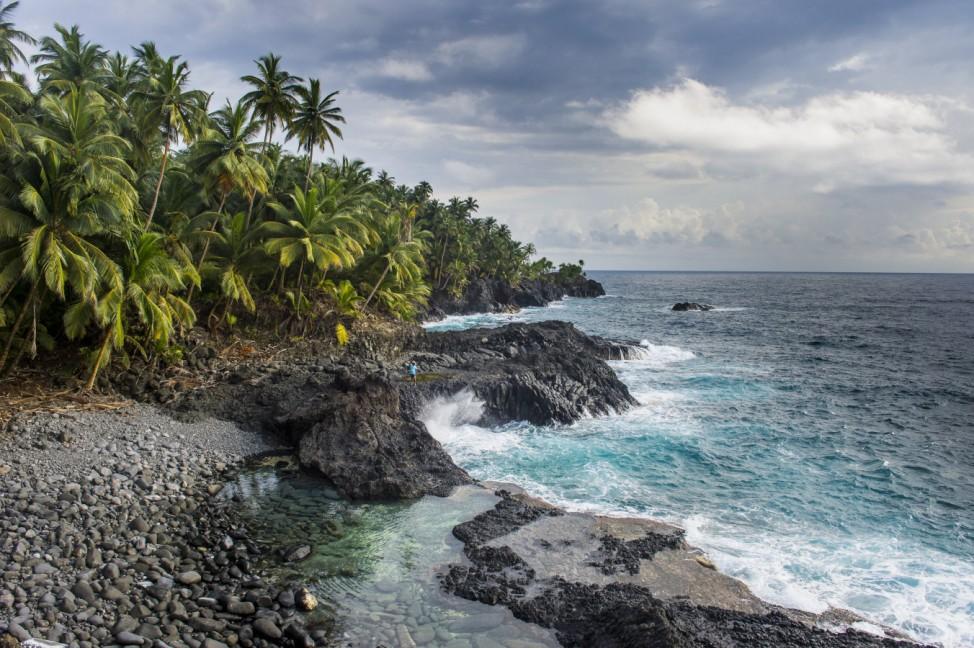 Rocky beach of Praia Piscina on the south coast of Sao Tome Sao Tome and Principe Atlantic Ocean