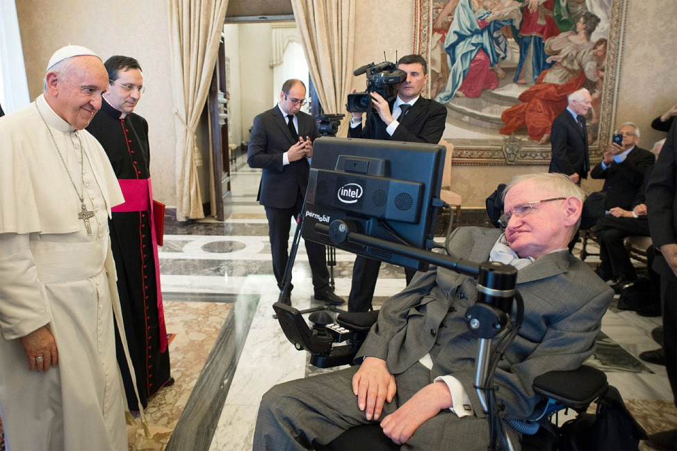 November 28 2016 Vatican City VATICAN Pope Francis greets physicist Stephen Hawking during an