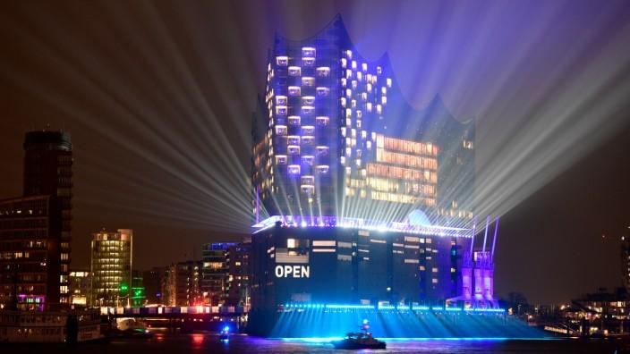 The new philharmonic hall Elbphilharmonie is illuminated during its opening ceremony in Hamburg