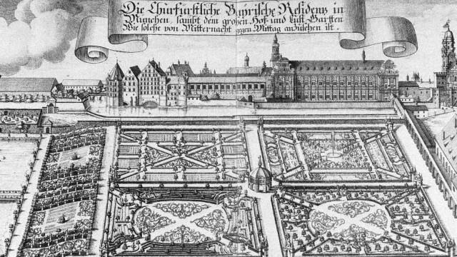 Residenz mit Hofgarten, um 1701