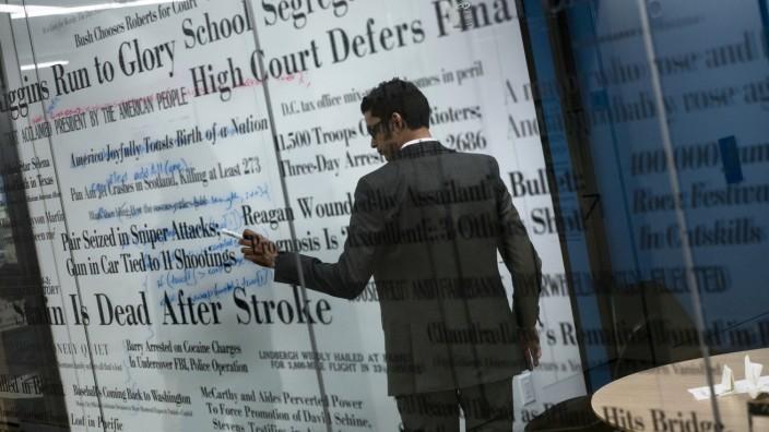 Medien: Schlagzeilen, die Amerika beweg(t)en: Blick in einen Konferenzraum im neuen Redaktionsgebäude der Washington Post.
