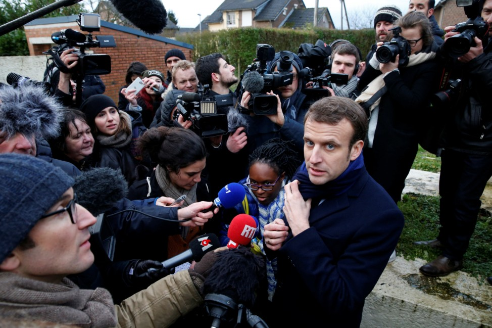 Emmanuel Macron, head of the political movement En Marche !, or Forward !, and candidate for the 2017 French presidential election, attends a news conference as he campaigns in Noeux-les-Mines