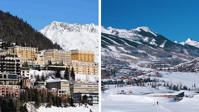 St Moritz (links) und Aspen im Vergleich