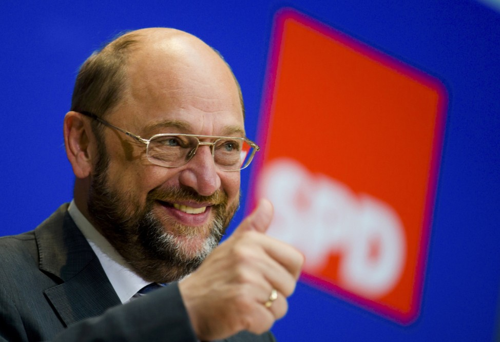 Socialist candidate for European Commission president Schulz gestures before press briefing after European Parliament election in Berlin