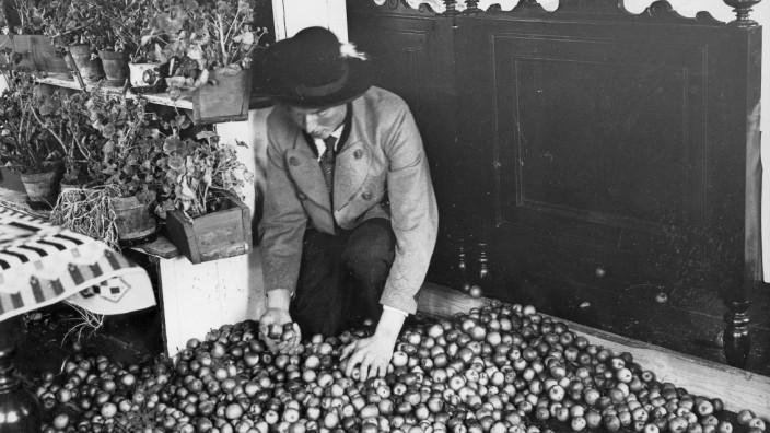 Bauer mit Apfelvorrat rund um Mariä Lichtmess (2. Februar)