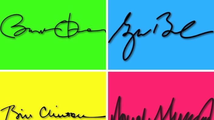 US-Präsident Donald Trump: Die Unterschriften von Barack Obama, George Bush, Donald Trump und Bill Clinton (von oben links im Uhrzeigersinn)