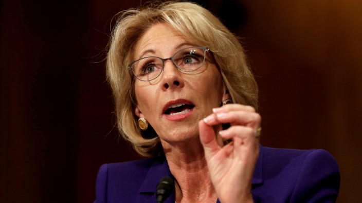 FILE PHOTO - Betsy DeVos testifies before the Senate Health, Education and Labor Committee confirmation hearing to be next Secretary of Education on Capitol Hill in Washington