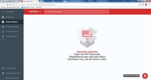 Screenshot Passwort-Manager LastPass