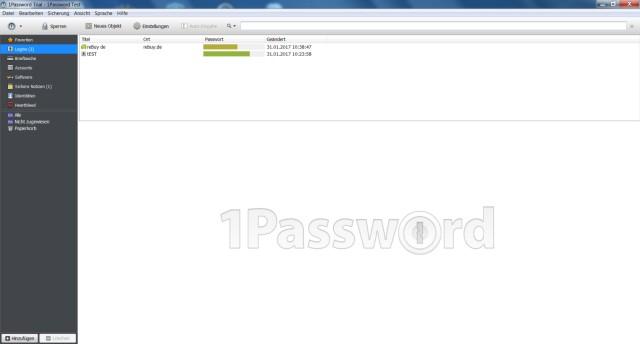 Screenshot Passwort-Manager 1Password