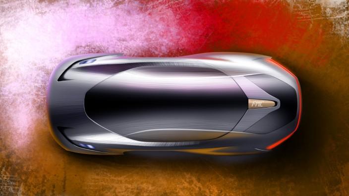 Eine Skizze des ersten Modells von Future Mobility in der Draufsicht