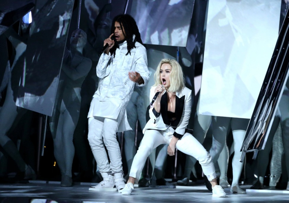 Marley and Perry perform 'Chained to the Rhythm' at the 59th Annual Grammy Awards in Los Angeles
