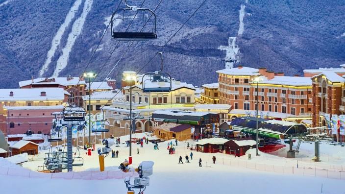 Sochi's Rosa Khutor Alpine Resort In Winter.
