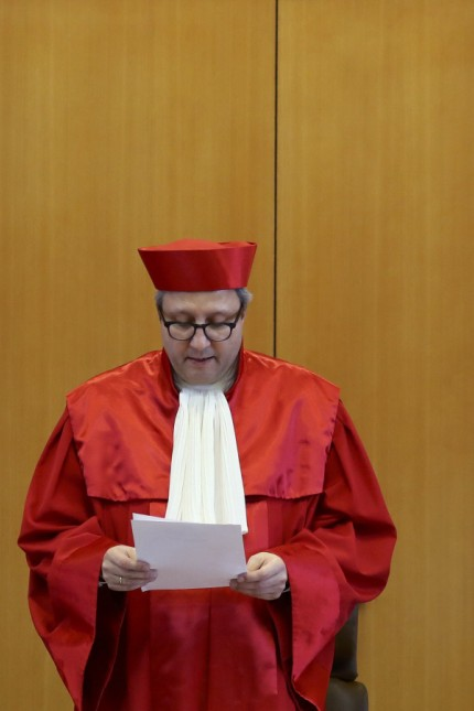 President of Germany's Constitutional Court Vosskuhle reads the verdict on the ban of the far-right NPD in Karlsruhe
