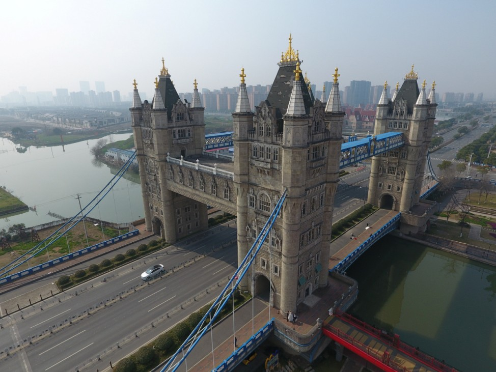 A look alike of London's Tower Bridge is seen in Suzhou