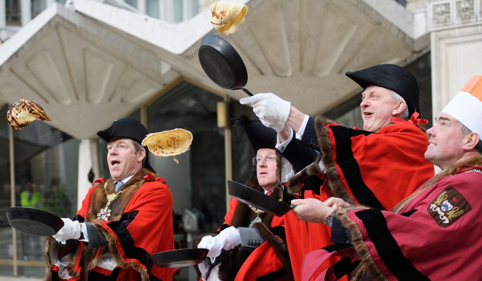 Inter-livery Pancake Race Takes Place At Guildhall Yard