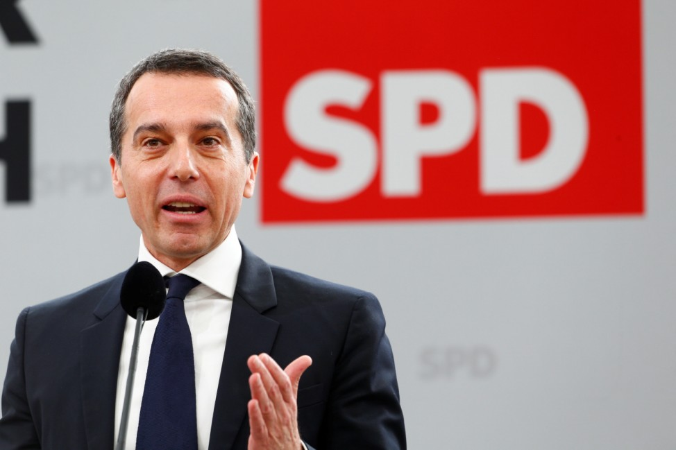 Austrian Chancellor Christian Kern speaks during the traditional Social Democratic Party (SPD) Ash Wednesday meeting in Vilshofen