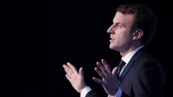 Emmanuel Macron, head of the political movement En Marche !, or Onwards !, and candidate for the 2017 French presidential election, speaks during a news conference in Paris