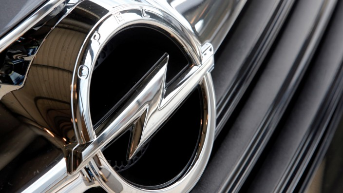 An Opel logo is seen on car at a dealership in Marseille