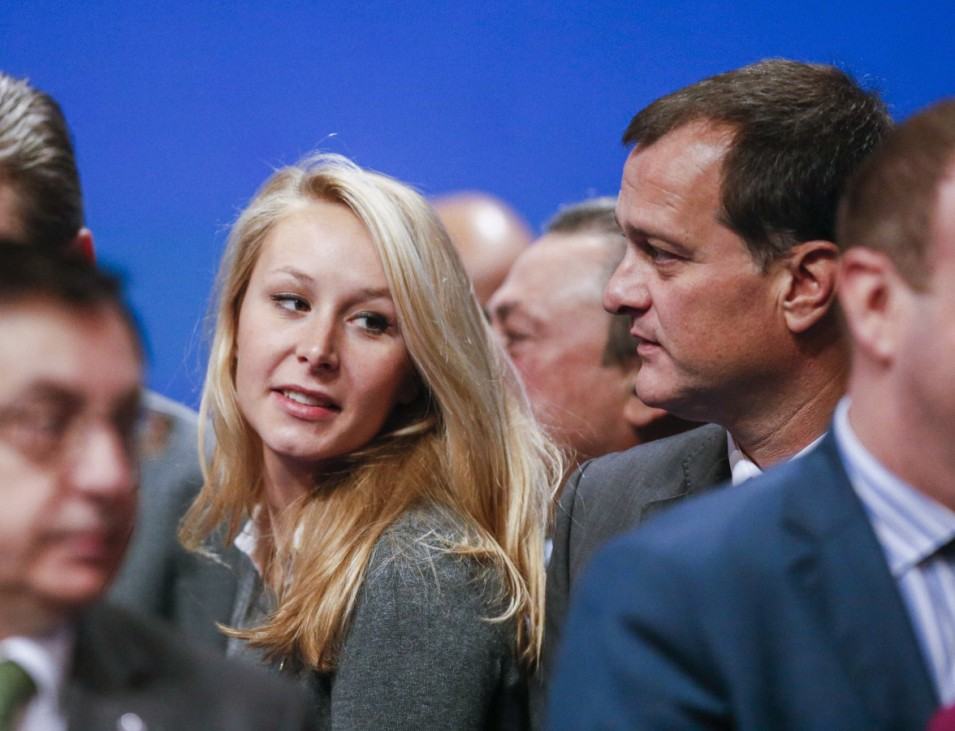 France's National Front political party deputy Marion Marechal-Le Pen seen with vice-president Aliot during their congress in Lyon