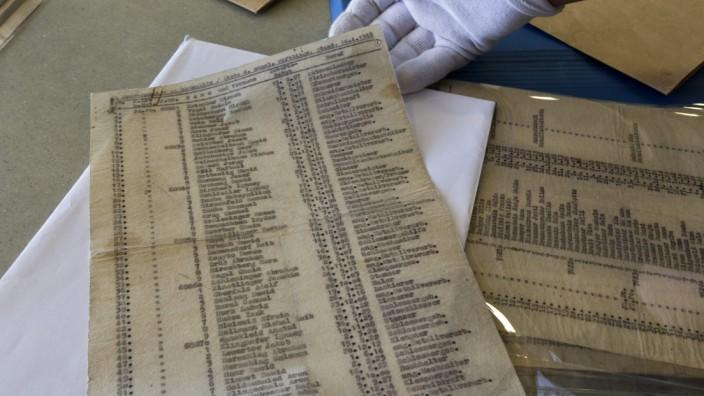 Original of Schindler's List displayed in Yad Vashem in Jerusalem