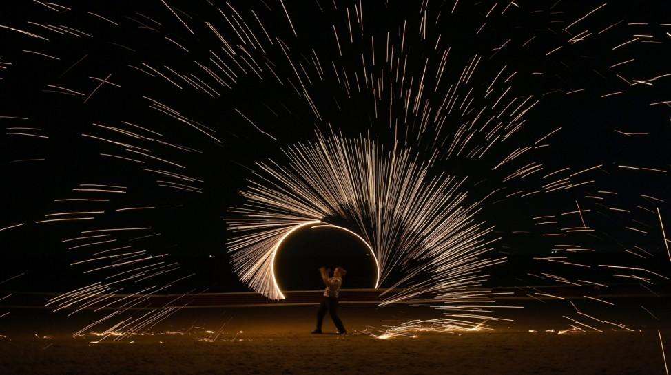 Feuershow bei den 'Baltic Lights' in Heringsdorf