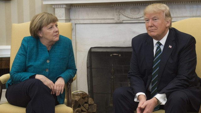 US President Donald Trump meets with German Chancellor Angela Merkel