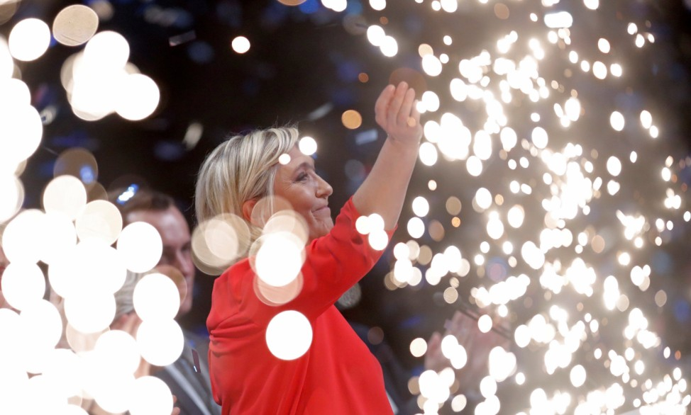 French National Front (FN) political party leader and candidate for French 2017 presidential election Le Pen attends a political rally in Chateauroux