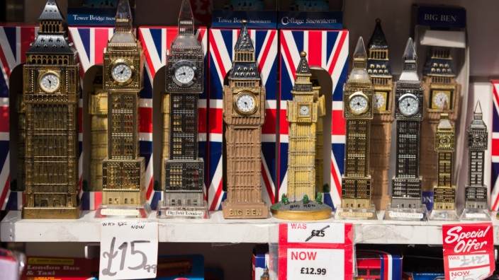 Models of the Elizabeth Tower of the Houses of Parliament Big Ben London