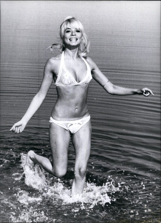 Oct 10 1971 A Specially pretty crab is shown on this photo It is Ingrid Steeger busy model a