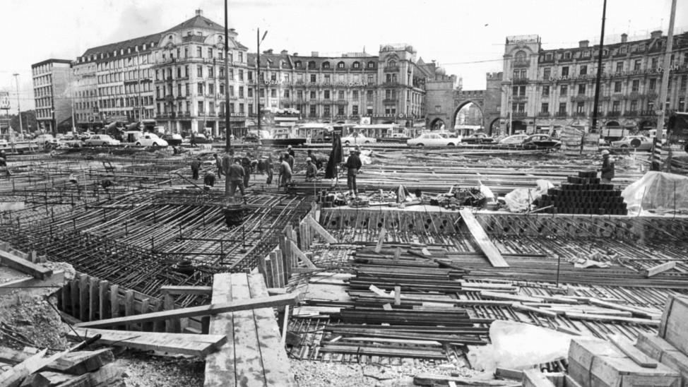 Baustelle am Stachus in M¸nchen, 1967