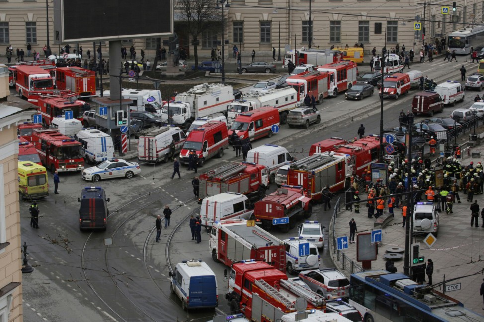 General view of emergency services attending the scene outside Sennaya Ploshchad metro station, following explosions in two train carriages in St. Petersburg