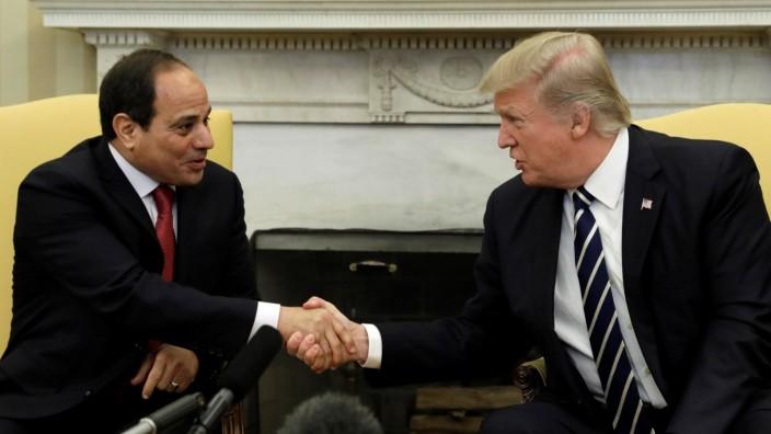 Trump meets Egypt President Abdel Fattah al-Sisi at the White House in Washington