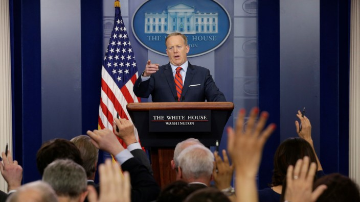 White House Press Secretary Sean Spicer takes a question during a press briefing at the White House in Washington