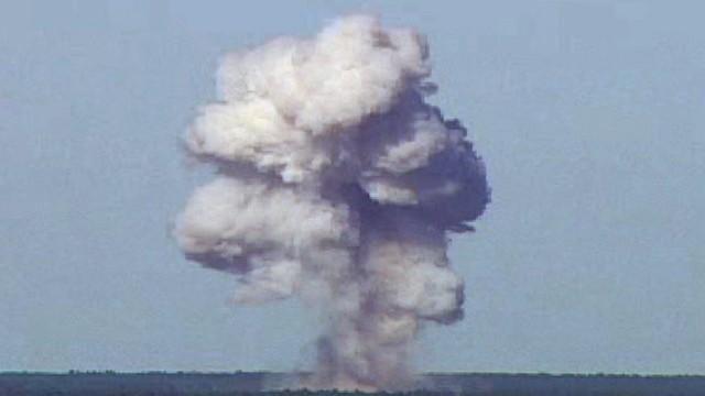 U.S. Air Force handout of the GBU-43/B, also known as the Massive Ordnance Air Blast, detonates during a test at Elgin Air Force Base Florida