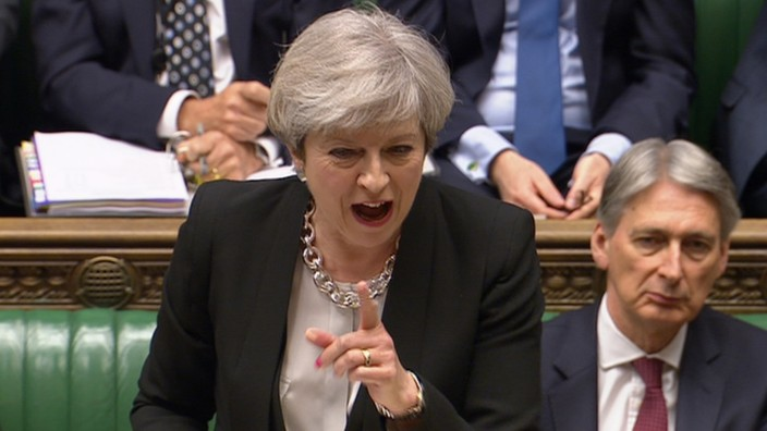 A still image from a video footage shows Britain's Prime Minister Theresa May addressing the House of Commons in central London