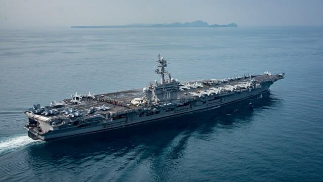 The U.S. aircraft carrier USS Carl Vinson transits the Sunda Strait Indonesia