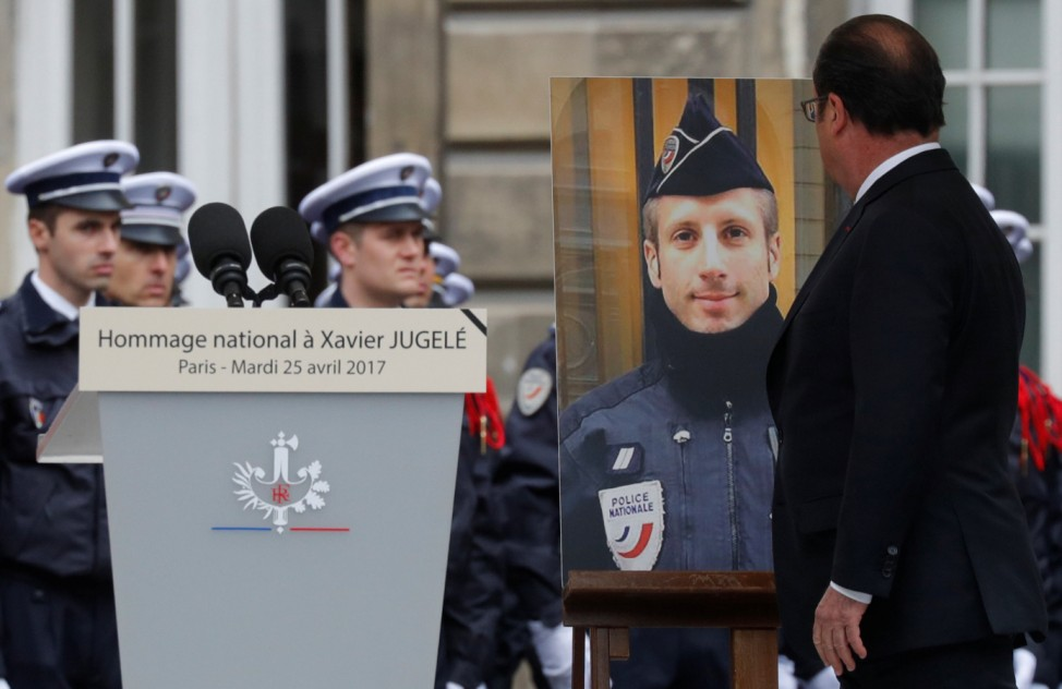 French President Francois Hollande attends a ceremony at the Police Prefecture in Paris
